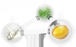 Протеины яиц, зеленого горошка и молока.