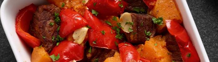 Запеченное мясо с тыквой